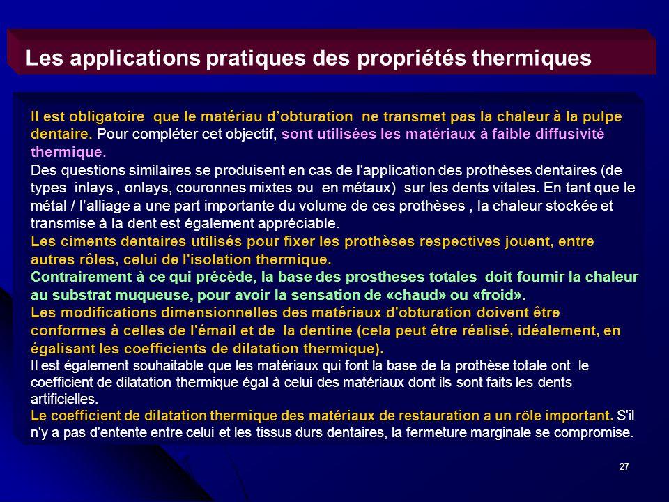 27 Les applications pratiques des propriétés thermiques Il est obligatoire que le matériau dobturation ne transmet pas la chaleur à la pulpe dentaire.