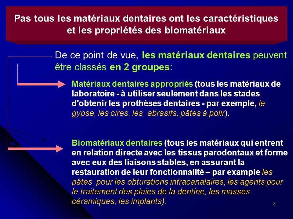 3 Pas tous les matériaux dentaires ont les caractéristiques et les propriétés des biomatériaux Biomatériaux dentaires (tous les matériaux qui entrent