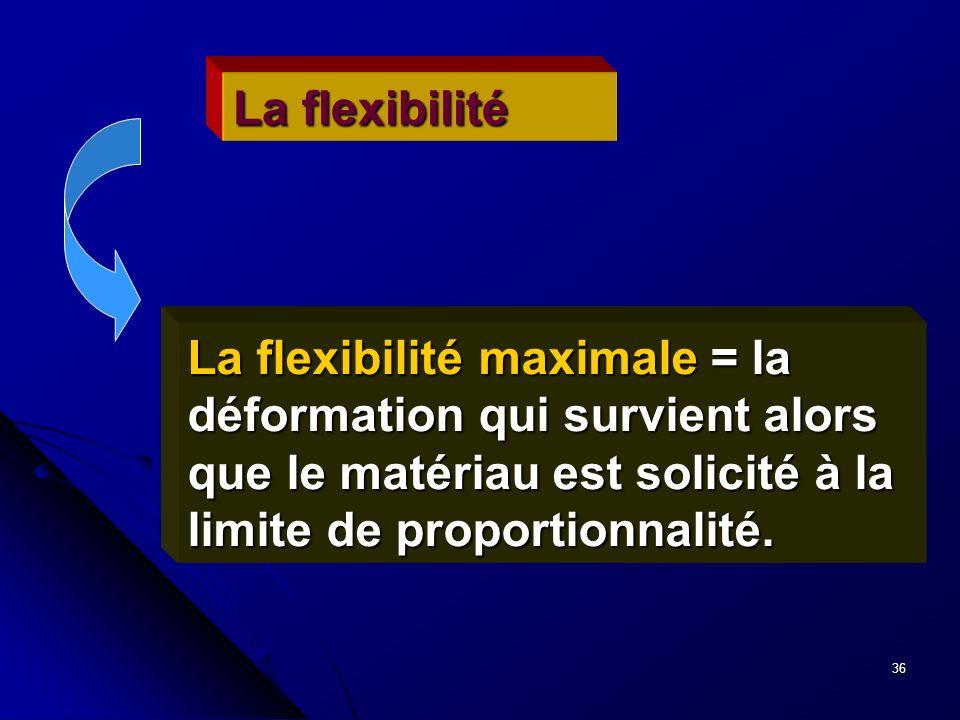 36 La flexibilité La flexibilité maximale = la déformation qui survient alors que le matériau est solicité à la limite de proportionnalité.