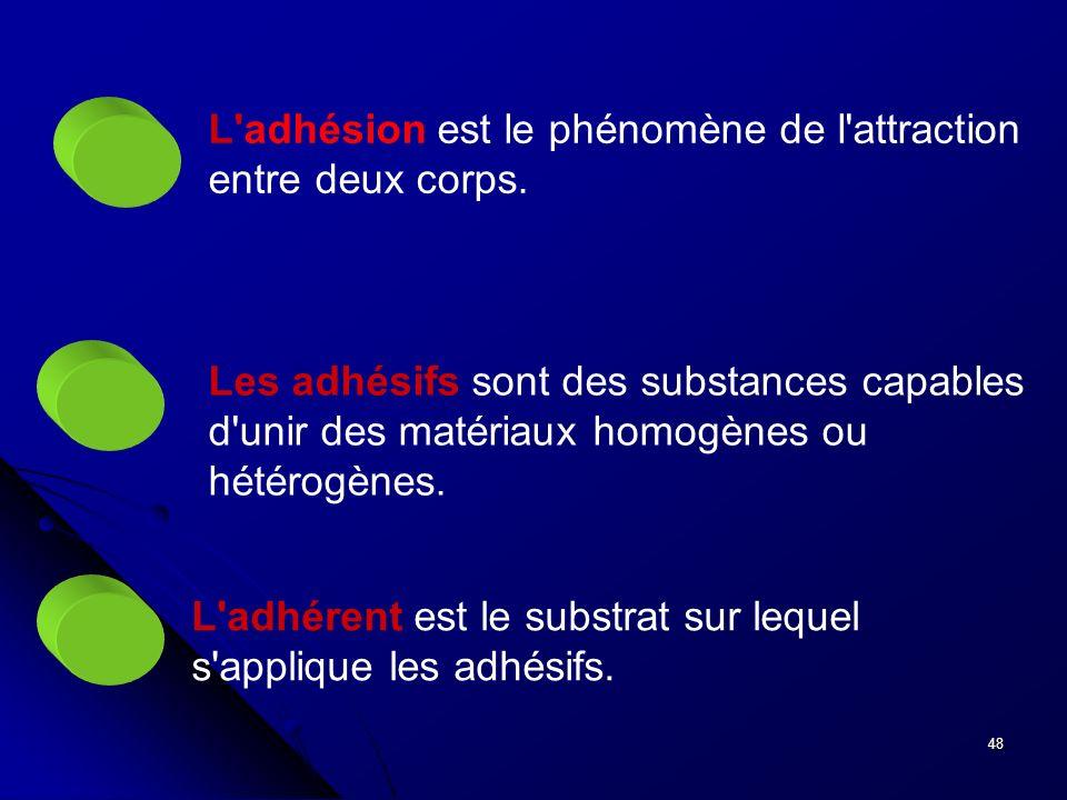 48 L'adhésion est le phénomène de l'attraction entre deux corps. Les adhésifs sont des substances capables d'unir des matériaux homogènes ou hétérogèn