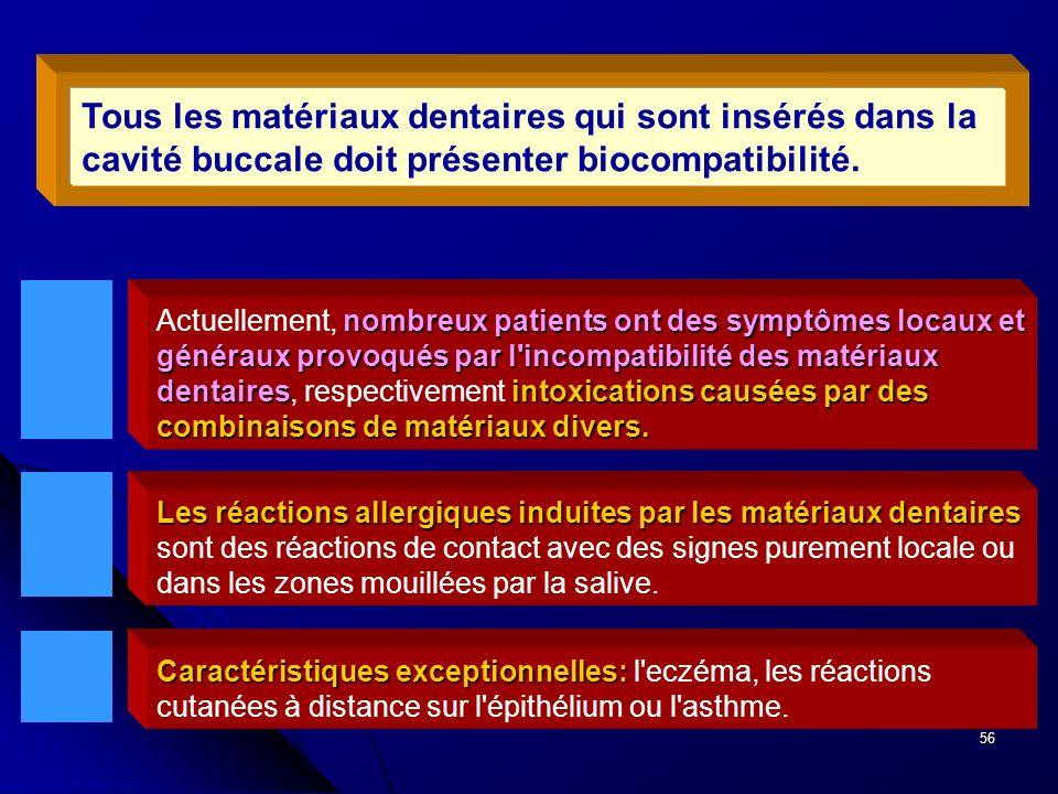 56 nombreux patients ont des symptômes locaux et généraux provoqués par l'incompatibilité des matériaux dentairesintoxications causées par des combina