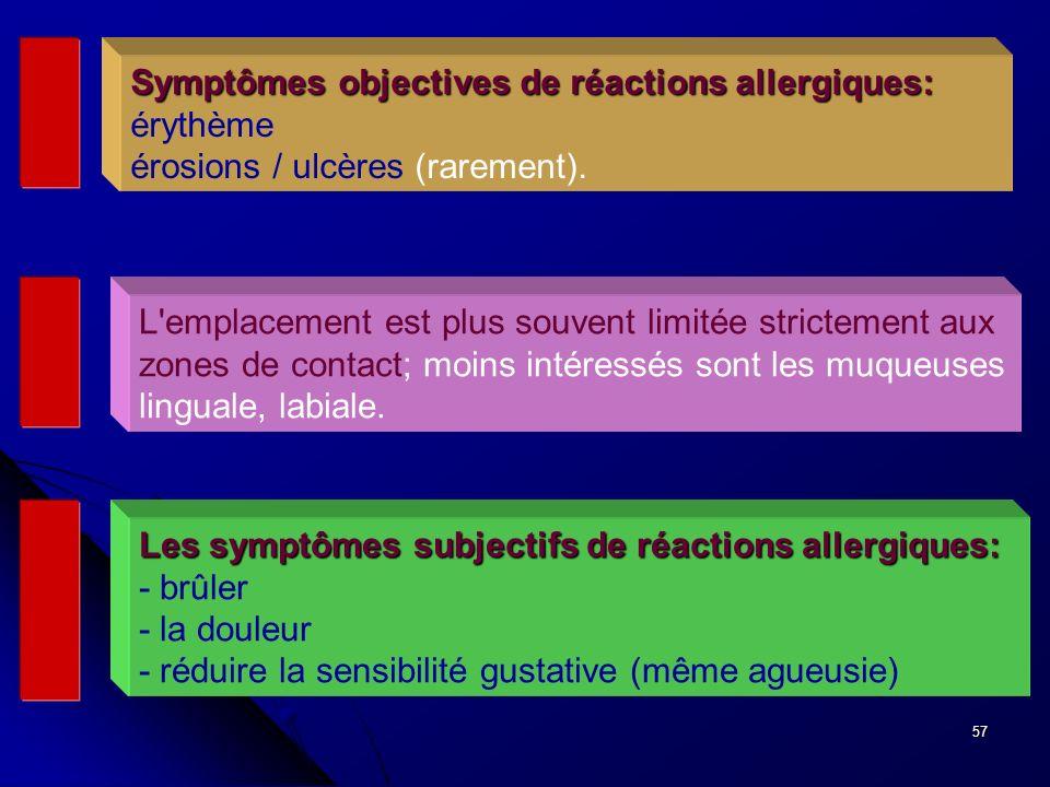 57 Symptômes objectives de réactions allergiques: Symptômes objectives de réactions allergiques: érythème érosions / ulcères (rarement). L'emplacement