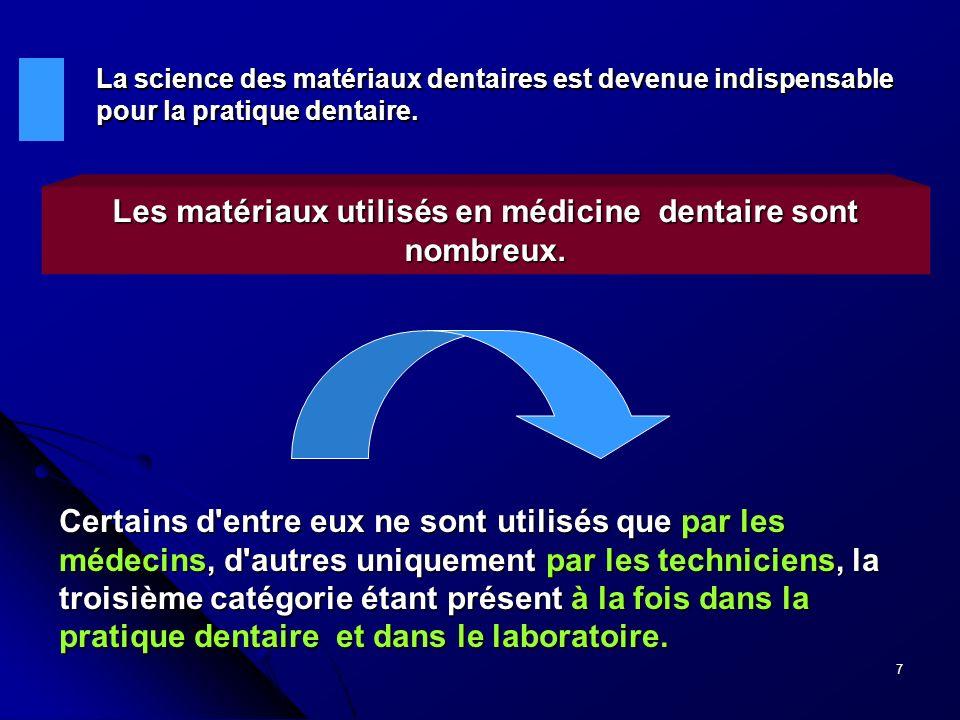 7 La science des matériaux dentaires est devenue indispensable pour la pratique dentaire. Les matériaux utilisés en médicine dentaire sont nombreux. C