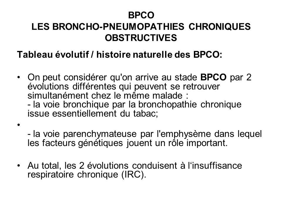 BPCO LES BRONCHO-PNEUMOPATHIES CHRONIQUES OBSTRUCTIVES Tableau évolutif / histoire naturelle des BPCO: On peut considérer qu on arrive au stade BPCO par 2 évolutions différentes qui peuvent se retrouver simultanément chez le même malade : - la voie bronchique par la bronchopathie chronique issue essentiellement du tabac; - la voie parenchymateuse par l emphysème dans lequel les facteurs génétiques jouent un rôle important.