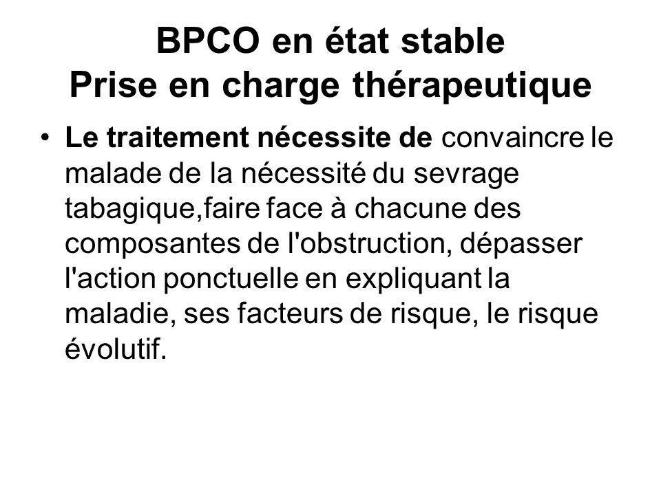 BPCO en état stable Prise en charge thérapeutique Le traitement nécessite de convaincre le malade de la nécessité du sevrage tabagique,faire face à chacune des composantes de l obstruction, dépasser l action ponctuelle en expliquant la maladie, ses facteurs de risque, le risque évolutif.