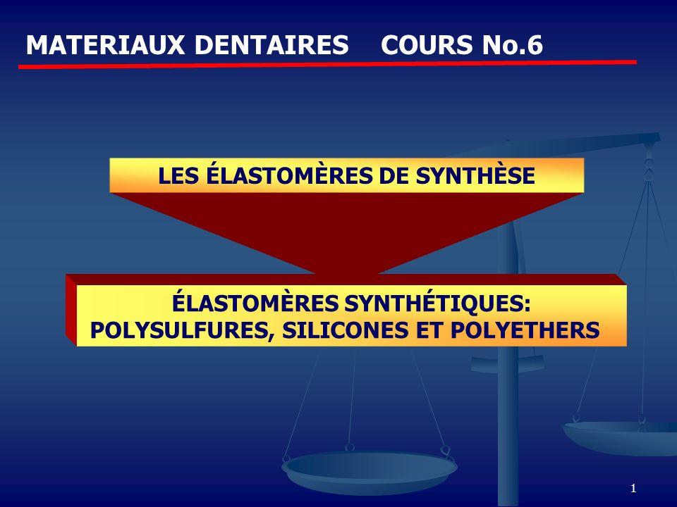 1 MATERIAUX DENTAIRES COURS No.6 LES ÉLASTOMÈRES DE SYNTHÈSE ÉLASTOMÈRES SYNTHÉTIQUES: POLYSULFURES, SILICONES ET POLYETHERS
