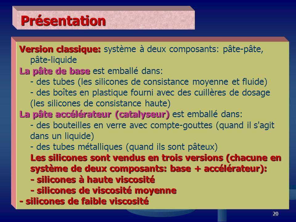 20 Présentation Version classique: Version classique: système à deux composants: pâte-pâte, pâte-liquide La pâte de base La pâte de base est emballé d