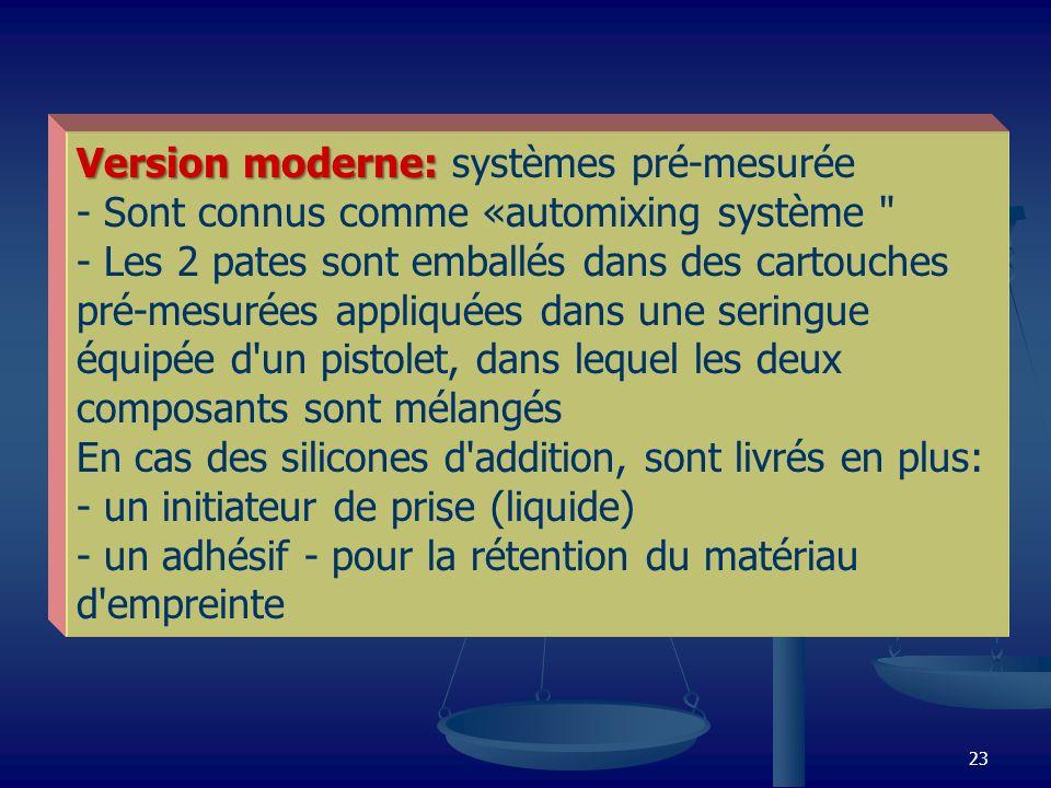 23 Version moderne: Version moderne: systèmes pré-mesurée - Sont connus comme «automixing système
