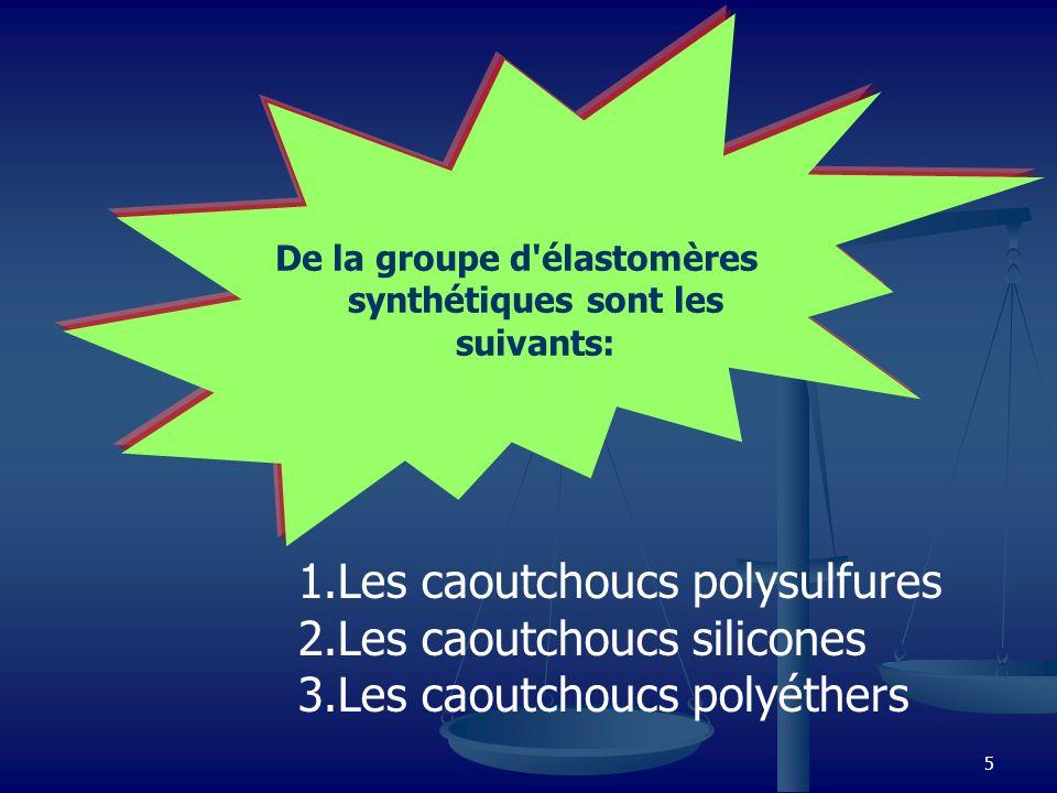 5 De la groupe d'élastomères synthétiques sont les suivants: 1.Les caoutchoucs polysulfures 2.Les caoutchoucs silicones 3.Les caoutchoucs polyéthers