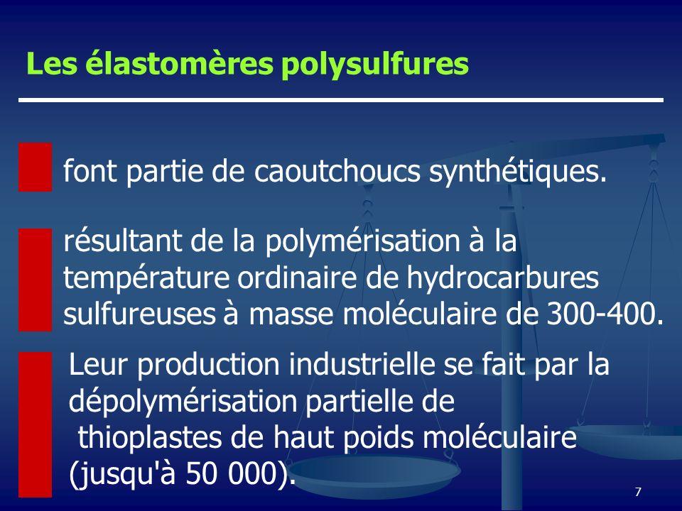 7 font partie de caoutchoucs synthétiques. Leur production industrielle se fait par la dépolymérisation partielle de thioplastes de haut poids molécul