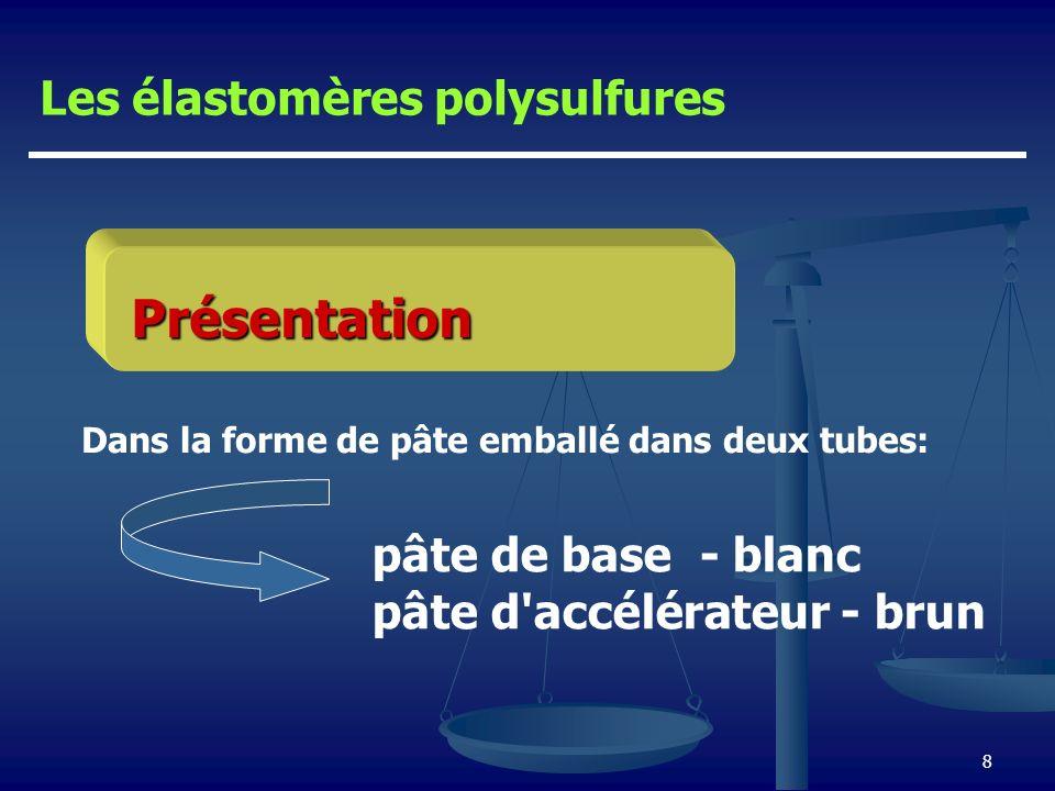 8 Présentation Dans la forme de pâte emballé dans deux tubes: Les élastomères polysulfures pâte de base - blanc pâte d'accélérateur - brun