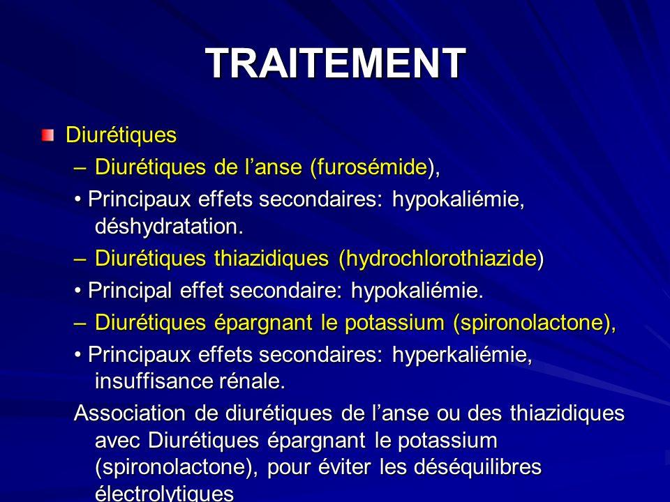 TRAITEMENT Diurétiques –Diurétiques de lanse (furosémide), Principaux effets secondaires: hypokaliémie, déshydratation.