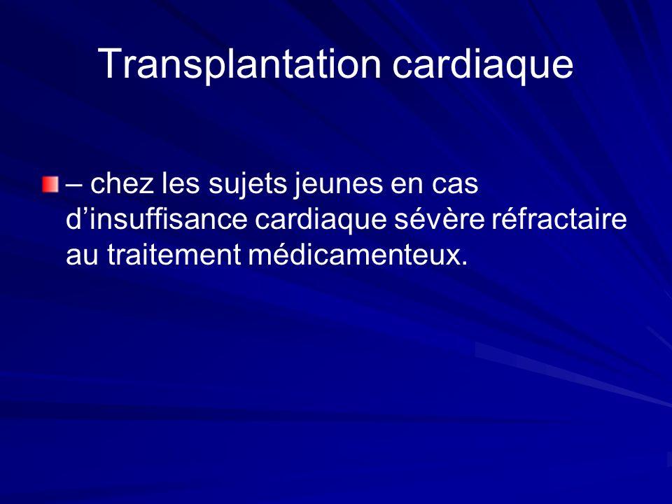 Transplantation cardiaque – chez les sujets jeunes en cas dinsuffisance cardiaque sévère réfractaire au traitement médicamenteux.