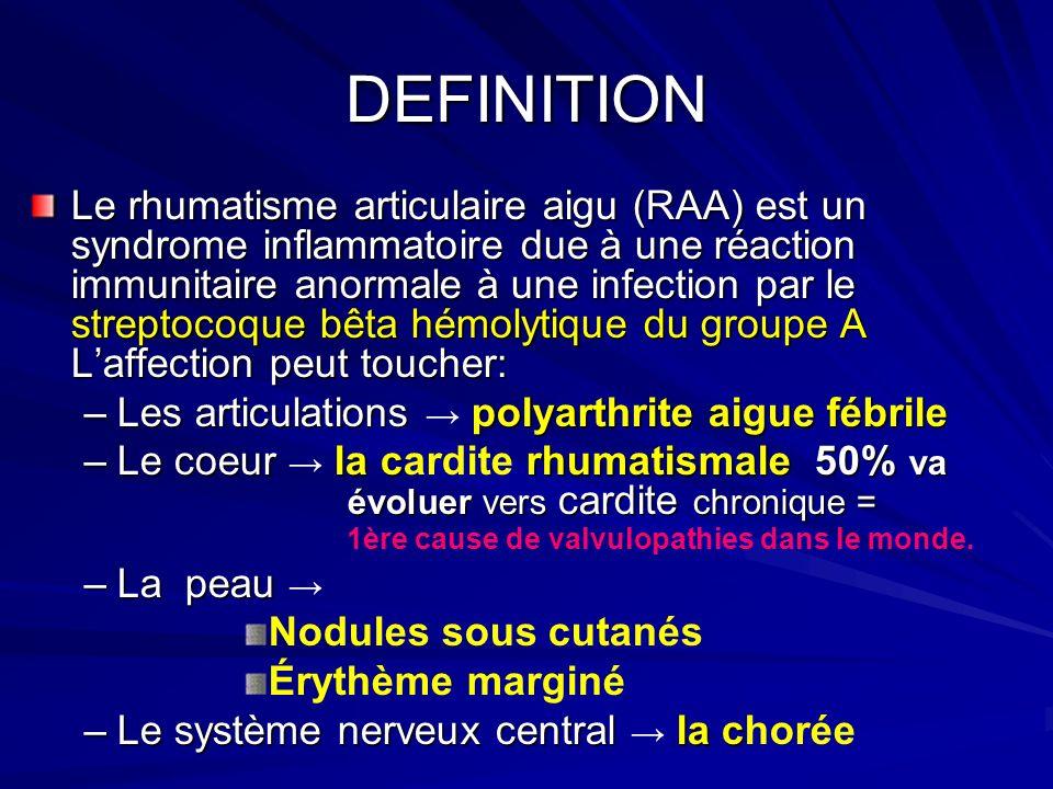 DEFINITION Le rhumatisme articulaire aigu (RAA) est un syndrome inflammatoire due à une réaction immunitaire anormale à une infection par le streptocoque bêta hémolytique du groupe A Laffection peut toucher: –Les articulations polyarthrite aigue fébrile –Le coeur la crhumatismale 50% va évoluer vers cardite chronique = –Le coeur la cardite rhumatismale 50% va évoluer vers cardite chronique = 1ère cause de valvulopathies dans le monde.