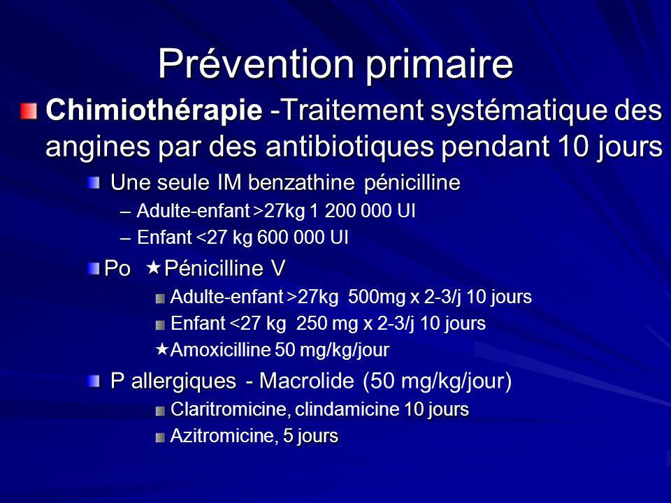 Prévention primaire Chimiothérapie -Traitement systématique des angines par des antibiotiques pendant 10 jours Une seule IM benzathine pénicilline Une seule IM benzathine pénicilline – –Adulte-enfant >27kg 1 200 000 UI – –Enfant <27 kg 600 000 UI Po Pénicilline V Adulte-enfant >27kg 500mg x 2-3/j 10 jours Enfant <27 kg 250 mg x 2-3/j 10 jours Amoxicilline 50 mg/kg/jour P allergiques - M P allergiques - Macrolide (50 mg/kg/jour) 10 jours Claritromicine, clindamicine 10 jours 5 jours Azitromicine, 5 jours