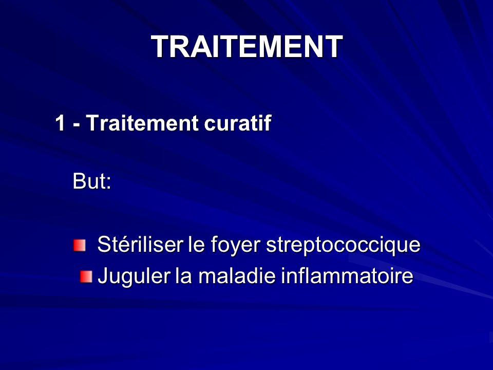TRAITEMENT 1 - Traitement curatif 1 - Traitement curatif But: But: Stériliser le foyer streptococcique Stériliser le foyer streptococcique Juguler la maladie inflammatoire