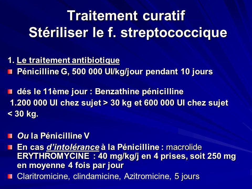 Traitement curatif Stériliser le f.streptococcique 1.