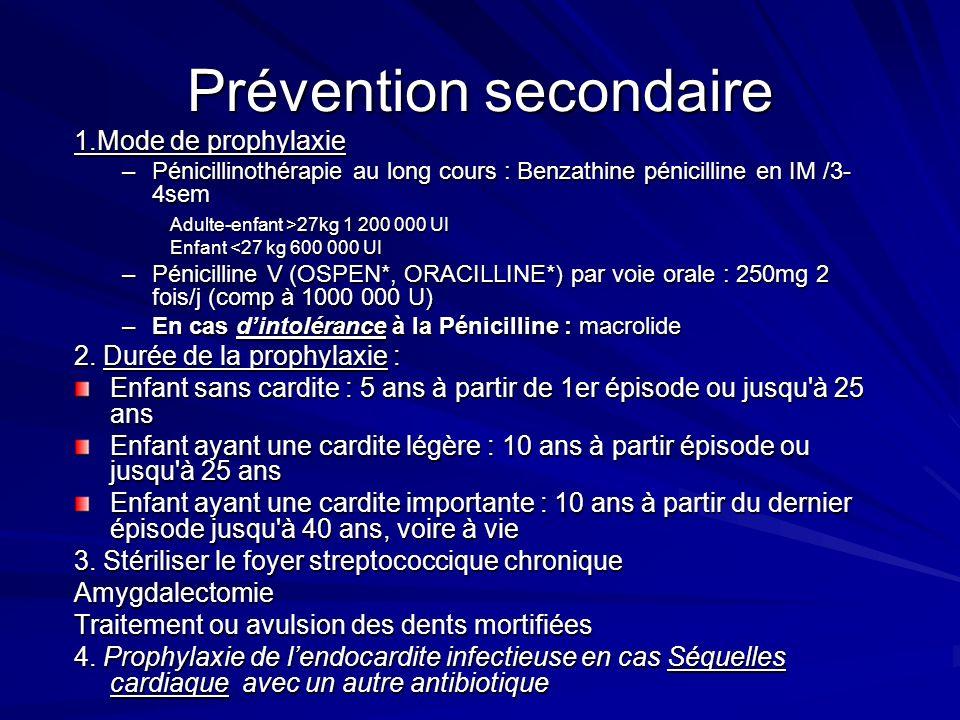 Prévention secondaire 1.Mode de prophylaxie 1.Mode de prophylaxie –Pénicillinothérapie au long cours : Benzathine pénicilline en IM /3- 4sem Adulte-enfant >27kg 1 200 000 UI Adulte-enfant >27kg 1 200 000 UI Enfant <27 kg 600 000 UI –Pénicilline V (OSPEN*, ORACILLINE*) par voie orale : 250mg 2 fois/j (comp à 1000 000 U) –En cas dintolérance à la Pénicilline : macrolide 2.