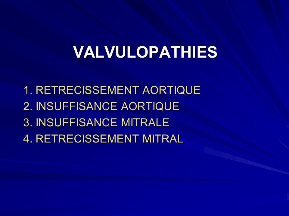 VALVULOPATHIES 1.RETRECISSEMENT AORTIQUE 2. INSUFFISANCE AORTIQUE 3.