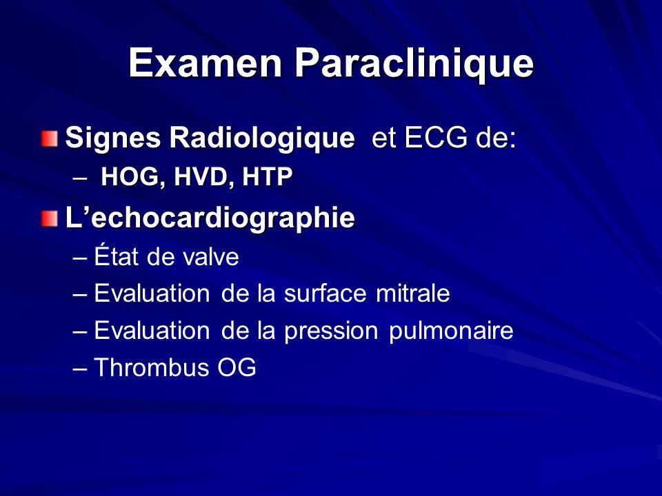 Examen Paraclinique Signes Radiologique et ECG de: – HOG, HVD, HTP Lechocardiographie – –État de valve – –Evaluation de la surface mitrale – –Evaluation de la pression pulmonaire – –Thrombus OG