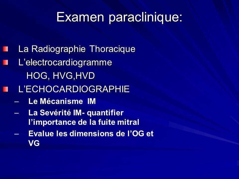 Examen paraclinique: La Radiographie Thoracique Lelectrocardiogramme HOG, HVG,HVD LECHOCARDIOGRAPHIE – –Le Mécanisme IM – –La Sevérité IM- quantifier limportance de la fuite mitral – –Evalue les dimensions de lOG et VG