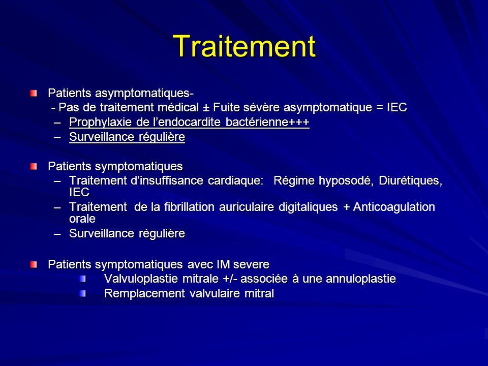 Traitement Patients asymptomatiques- - Pas de traitement médical ± Fuite sévère asymptomatique = IEC - Pas de traitement médical ± Fuite sévère asymptomatique = IEC –Prophylaxie de lendocardite bactérienne+++ –Surveillance régulière Patients symptomatiques –Traitement dinsuffisance cardiaque: Régime hyposodé, Diurétiques, IEC –Traitement de la fibrillation auriculaire –Traitement de la fibrillation auriculaire digitaliques + Anticoagulation orale –Surveillance régulière Patients symptomatiques avec IM severe Valvuloplastie mitrale +/- associée à une annuloplastie Valvuloplastie mitrale +/- associée à une annuloplastie Remplacement valvulaire mitral Remplacement valvulaire mitral