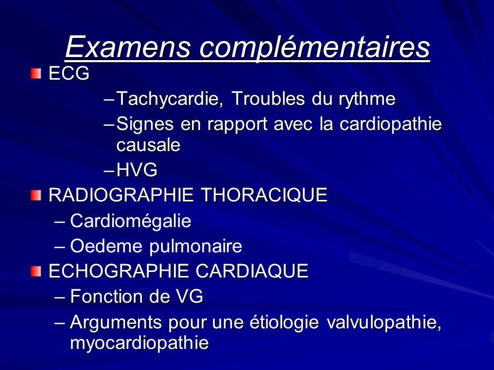 Examens complémentaires ECG –Tachycardie, Troubles du rythme –Signes en rapport avec la cardiopathie causale –HVG RADIOGRAPHIE THORACIQUE – –Cardiomégalie – –Oedeme pulmonaire ECHOGRAPHIE CARDIAQUE –Fonction de VG –Arguments pour une étiologie valvulopathie, myocardiopathie