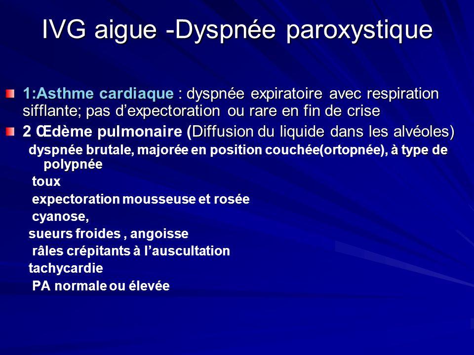 IVG aigue -Dyspnée paroxystique 1:Asthme cardiaque : dyspnée expiratoire avec respiration sifflante; pas dexpectoration ou rare en fin de crise Diffusion du liquide dans les alvéoles) 2 Œdème pulmonaire (Diffusion du liquide dans les alvéoles) à type de polypnée dyspnée brutale, majorée en position couchée(ortopnée), à type de polypnée toux expectoration mousseuse et rosée cyanose, sueurs froides, angoisse râles crépitants à lauscultation tachycardie PA normale ou élevée