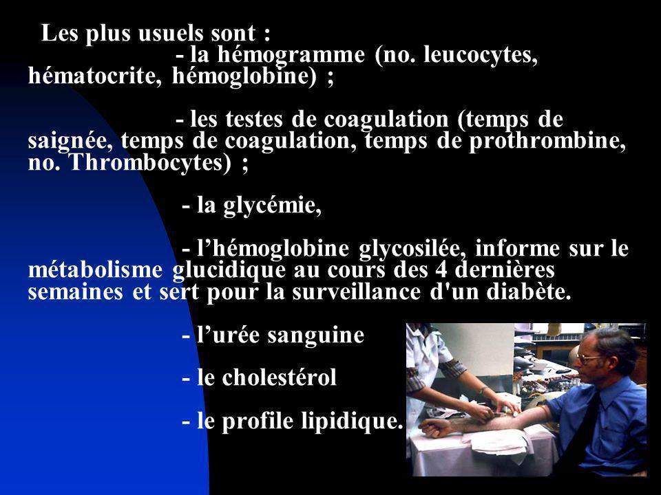 Les plus usuels sont : - la hémogramme (no. leucocytes, hématocrite, hémoglobine) ; - les testes de coagulation (temps de saignée, temps de coagulatio