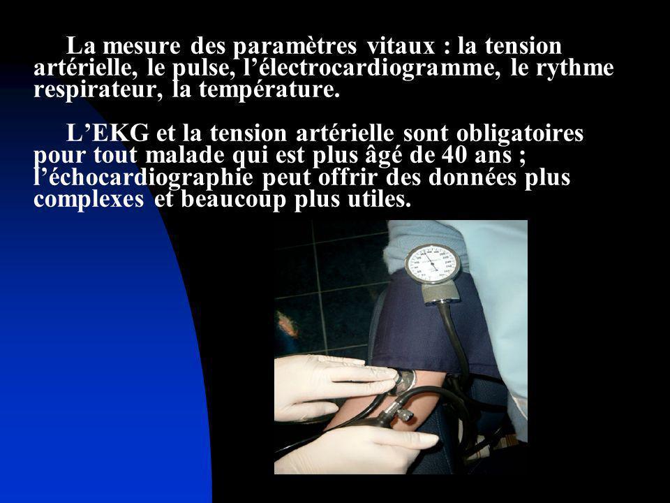 La mesure des paramètres vitaux : la tension artérielle, le pulse, lélectrocardiogramme, le rythme respirateur, la température. LEKG et la tension art
