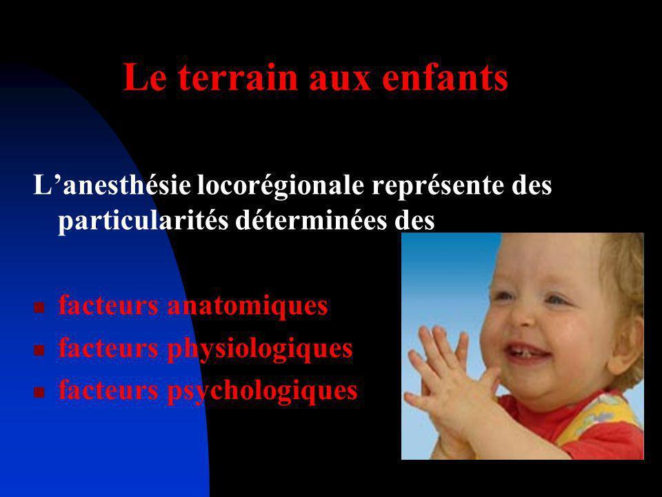Le terrain aux enfants Lanesthésie locorégionale représente des particularités déterminées des facteurs anatomiques facteurs physiologiques facteurs p