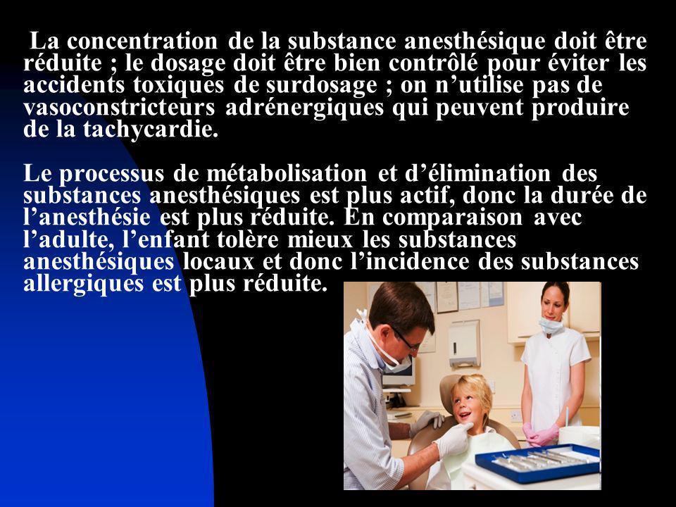 La concentration de la substance anesthésique doit être réduite ; le dosage doit être bien contrôlé pour éviter les accidents toxiques de surdosage ;