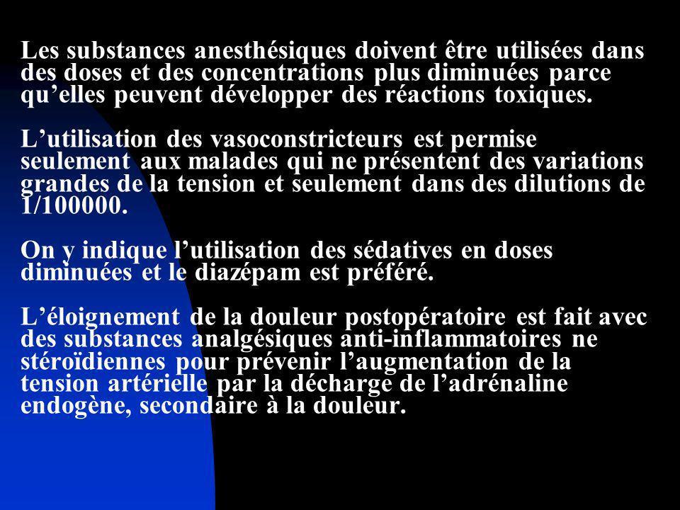 Les substances anesthésiques doivent être utilisées dans des doses et des concentrations plus diminuées parce quelles peuvent développer des réactions