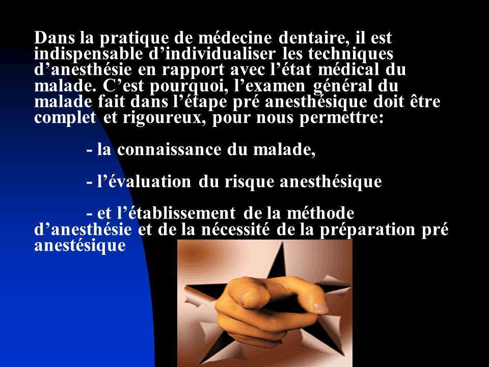 Avant ladministration de lanesthésie le médecin doit faire un bilan pré anesthésique qui sera proportionnel avec: létat du malade lampleur de lintervention stomatologiste ou de chirurgie dento - alvéolaire lendroit où se passera lacte médical (dans des conditions ambulatoires ou dhôpital)