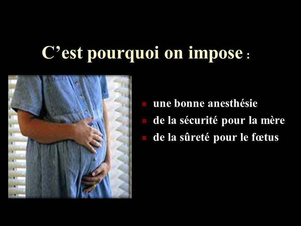 Cest pourquoi on impose : une bonne anesthésie de la sécurité pour la mère de la sûreté pour le fœtus