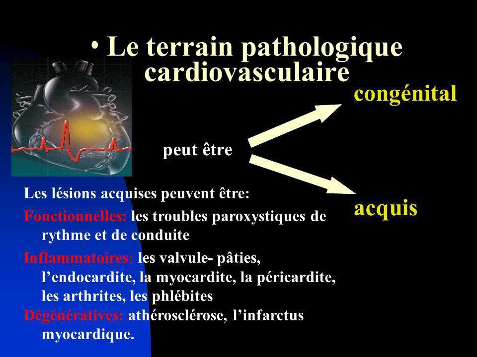 Le terrain pathologique cardiovasculaire congénital peut être acquis Les lésions acquises peuvent être: Fonctionnelles: les troubles paroxystiques de