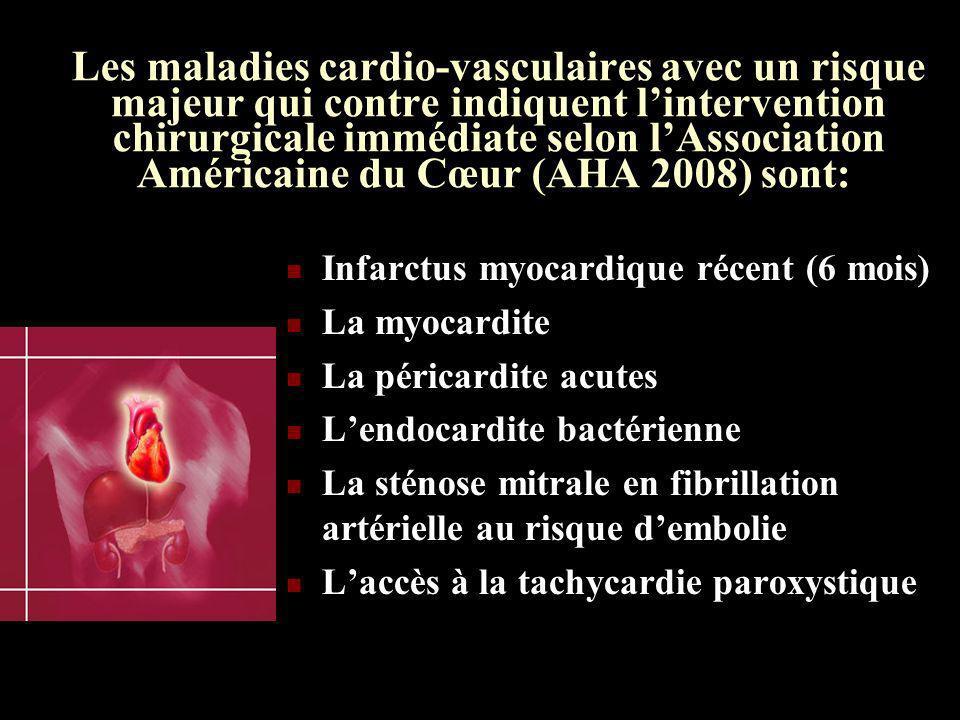 Les maladies cardio-vasculaires avec un risque majeur qui contre indiquent lintervention chirurgicale immédiate selon lAssociation Américaine du Cœur