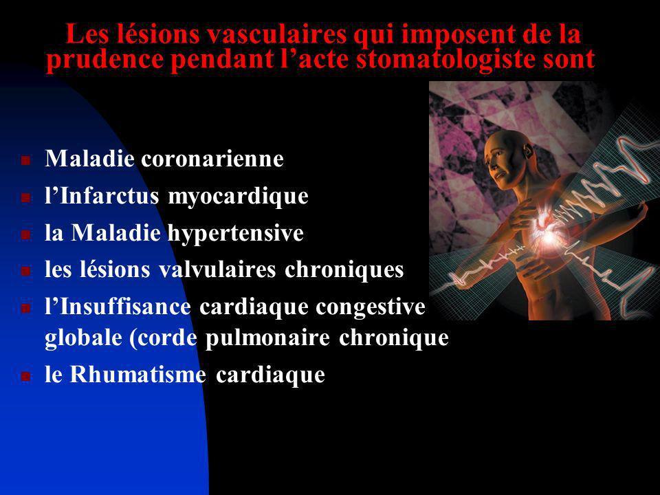 Les lésions vasculaires qui imposent de la prudence pendant lacte stomatologiste sont Maladie coronarienne lInfarctus myocardique la Maladie hypertens