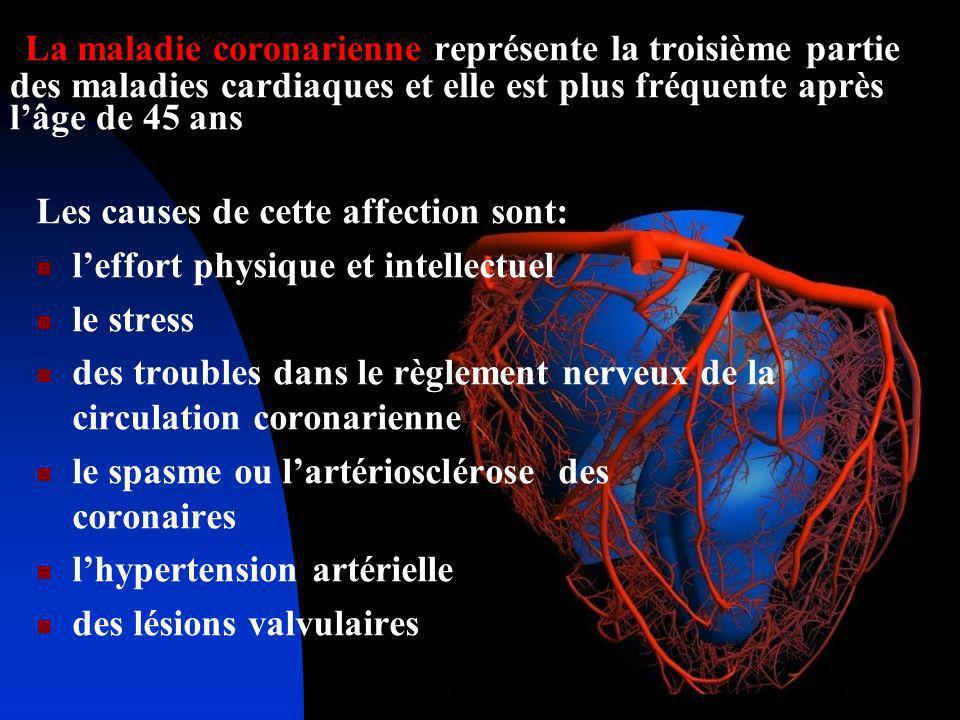 La maladie coronarienne représente la troisième partie des maladies cardiaques et elle est plus fréquente après lâge de 45 ans Les causes de cette aff