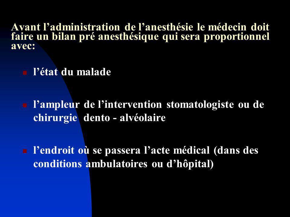 Avant ladministration de lanesthésie le médecin doit faire un bilan pré anesthésique qui sera proportionnel avec: létat du malade lampleur de linterve