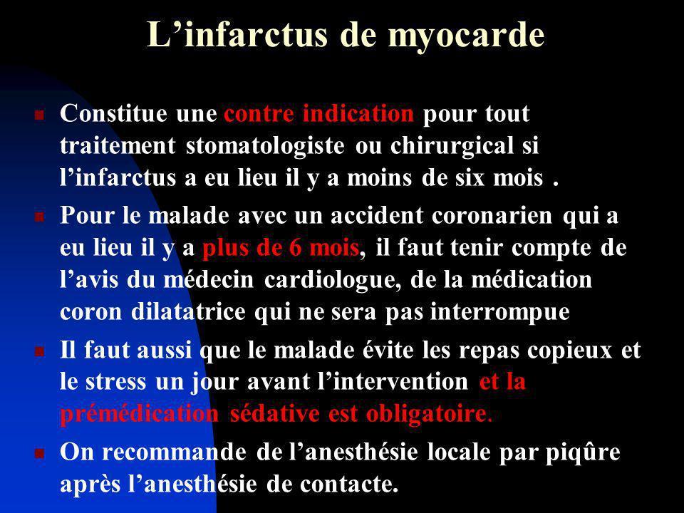 Linfarctus de myocarde Constitue une contre indication pour tout traitement stomatologiste ou chirurgical si linfarctus a eu lieu il y a moins de six