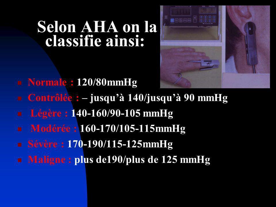 Selon AHA on la classifie ainsi: Normale : 120/80mmHg Contrôlée : – jusquà 140/jusquà 90 mmHg Légère : 140-160/90-105 mmHg Modérée : 160-170/105-115mm
