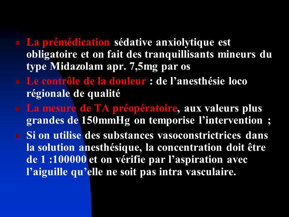 La prémédication sédative anxiolytique est obligatoire et on fait des tranquillisants mineurs du type Midazolam apr. 7,5mg par os Le contrôle de la do