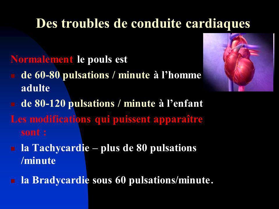 Des troubles de conduite cardiaques Normalement le pouls est de 60-80 pulsations / minute à lhomme adulte de 80-120 pulsations / minute à lenfant Les