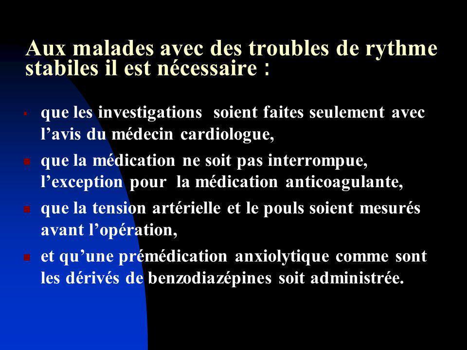 Aux malades avec des troubles de rythme stabiles il est nécessaire : que les investigations soient faites seulement avec lavis du médecin cardiologue,