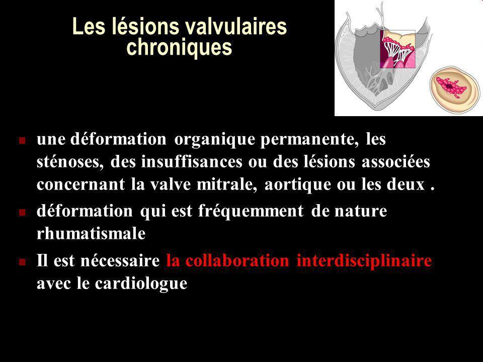 Les lésions valvulaires chroniques une déformation organique permanente, les sténoses, des insuffisances ou des lésions associées concernant la valve