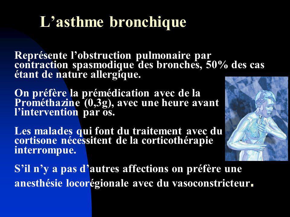 Lasthme bronchique Représente lobstruction pulmonaire par contraction spasmodique des bronches, 50% des cas étant de nature allergique. On préfère la