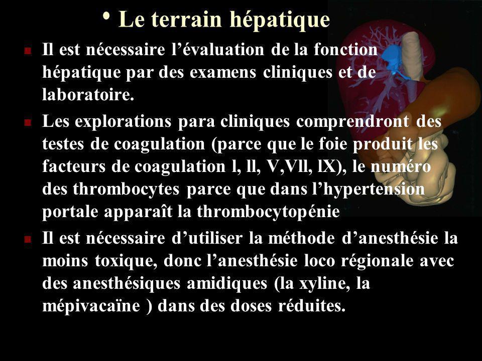 Le terrain hépatique Il est nécessaire lévaluation de la fonction hépatique par des examens cliniques et de laboratoire. Les explorations para cliniqu