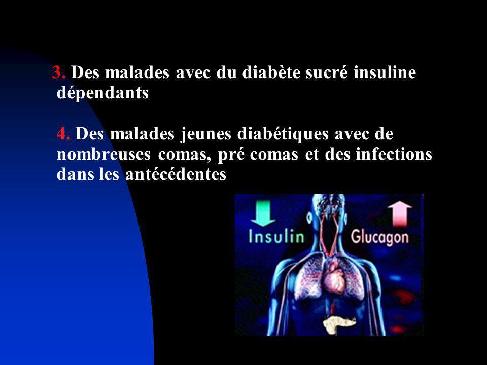 3. Des malades avec du diabète sucré insuline dépendants 4. Des malades jeunes diabétiques avec de nombreuses comas, pré comas et des infections dans