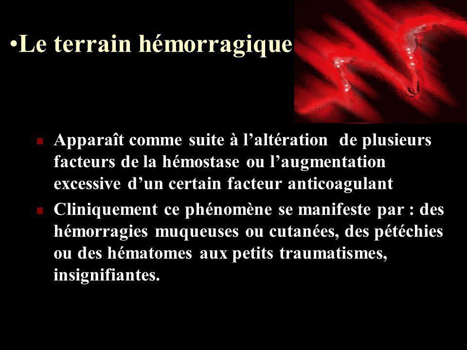 Le terrain hémorragique Apparaît comme suite à laltération de plusieurs facteurs de la hémostase ou laugmentation excessive dun certain facteur antico